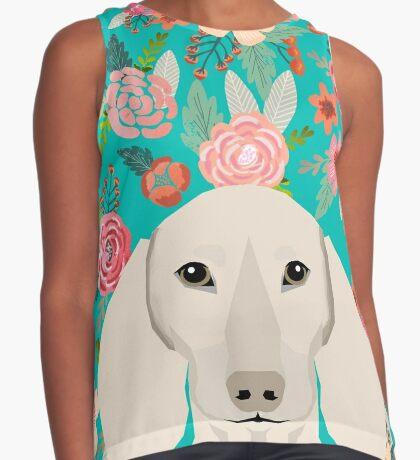 Dachshund florals flower pet portrait dog art dachsie doxie pet art dog breeds by PetFriendly Sleeveless Top