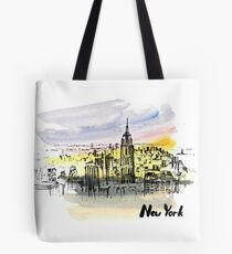 New York with beautiful sky. Tote Bag