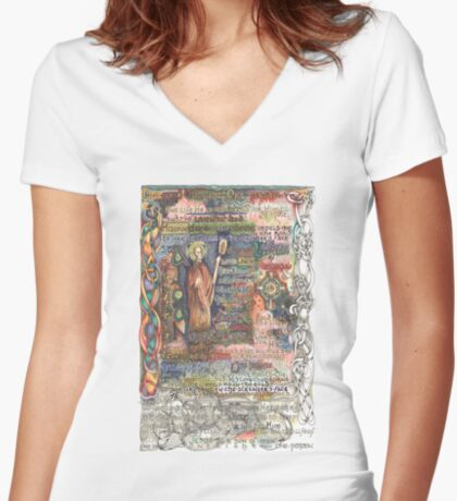 St. Aidan of Lindisfarne Women's Fitted V-Neck T-Shirt