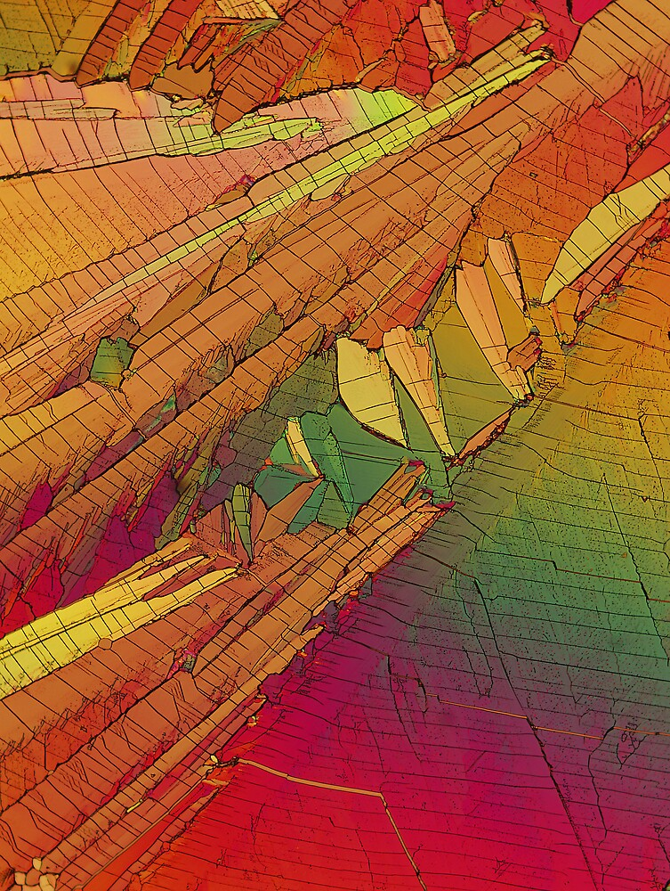 Diazo crystals under polarised light by Michael Dingley