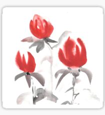 Red flowers. Japan traditional ink painting. Sticker