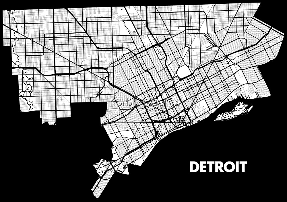 Detroit Street Map - White\
