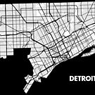 Detroit Street Map - White by Korben-Dallas