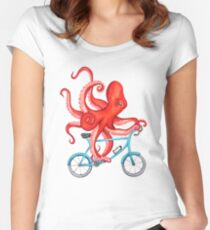 Cycling octopus Women's Fitted Scoop T-Shirt