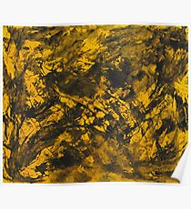Black Ink on Yellow Background Poster