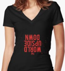 The World is turning Upside Down - Red Women's Fitted V-Neck T-Shirt