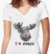 I love Music! Women's Fitted V-Neck T-Shirt