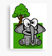 Goofy Cartoon Elephant Canvas Print