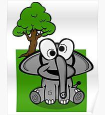Goofy Cartoon Elephant Poster