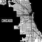Chicago Illinois Street Map - White by Korben-Dallas