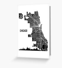 Chicago Illinois Street Map - Black Greeting Card