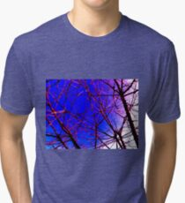 Colorful Red and Blue Bough Design Tri-blend T-Shirt