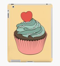 Chocolate cupcake with mint cream and heart iPad Case/Skin