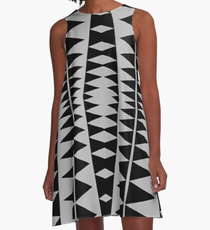 Black and Gray Modern Design by Julie Everhart A-Line Dress