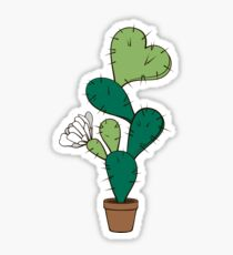 Blooming cactus with heart Sticker