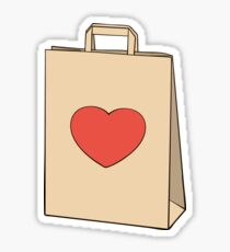 Paper shopping bag with heart Sticker