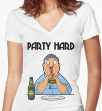 Teddy - Party Hard Women's Fitted V-Neck T-Shirt