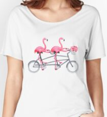 Pink flamingos on tandem bicycle Women's Relaxed Fit T-Shirt