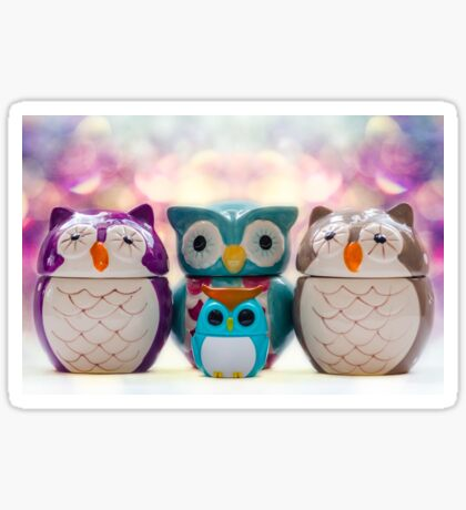 A Colourful Parliament of Owls Sticker