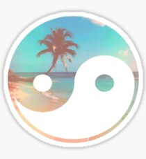 Beach Retro Ying Yang Sticker