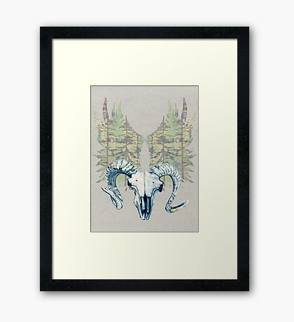 Mystical Sheep Skull - Blue Framed Print
