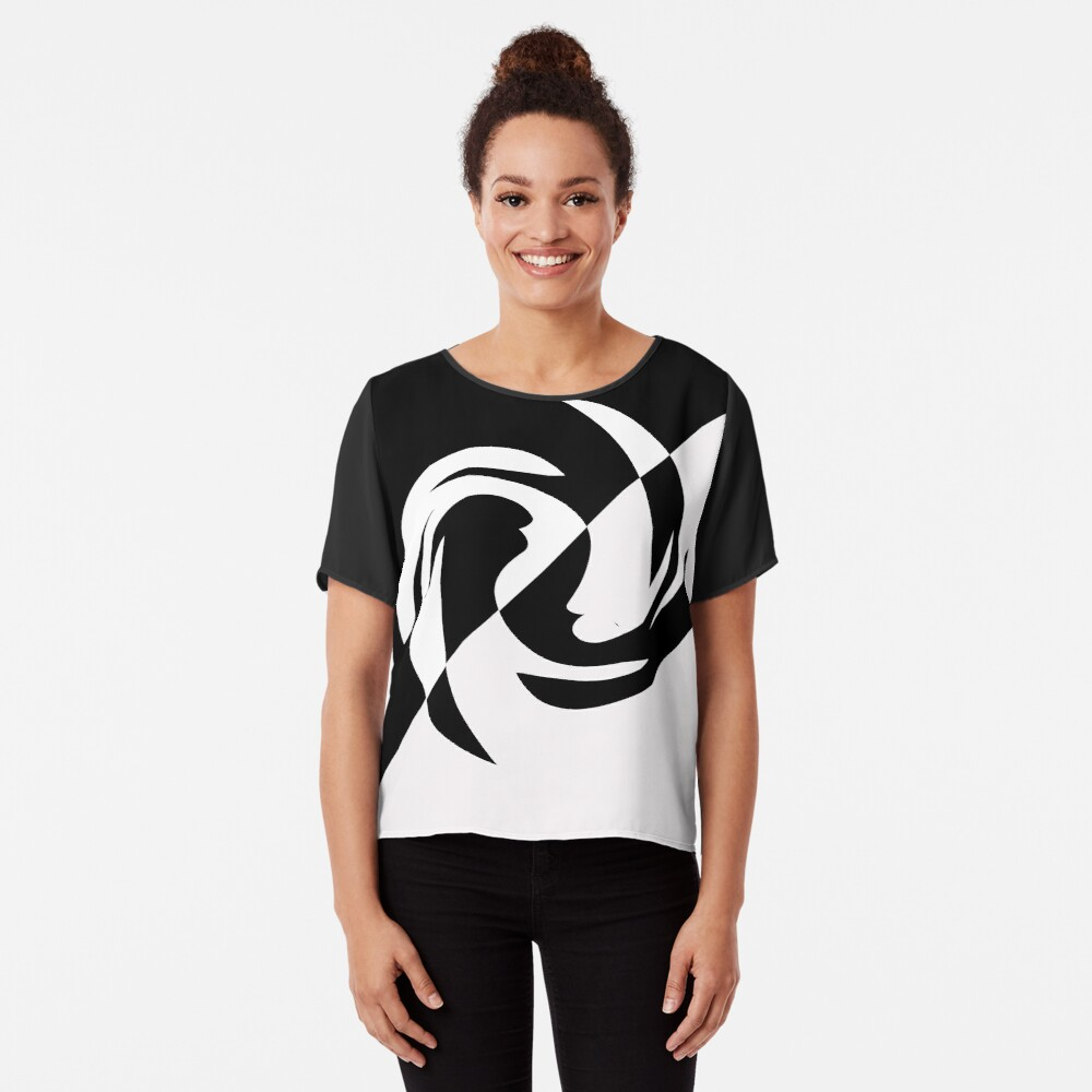 Half and Half with Spin ( black and white) by Julie Everhart Chiffon Top