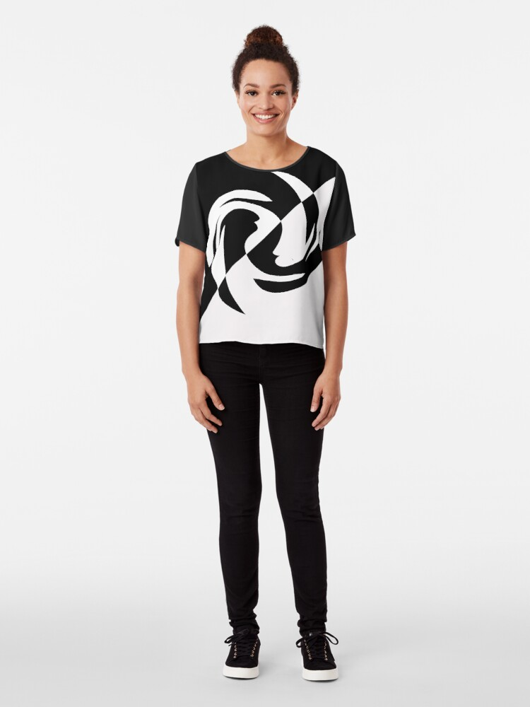 Alternate view of Half and Half with Spin ( black and white) by Julie Everhart Chiffon Top