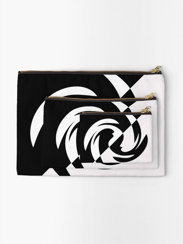 Alternate view of Half and Half with Spin ( black and white) by Julie Everhart Zipper Pouch
