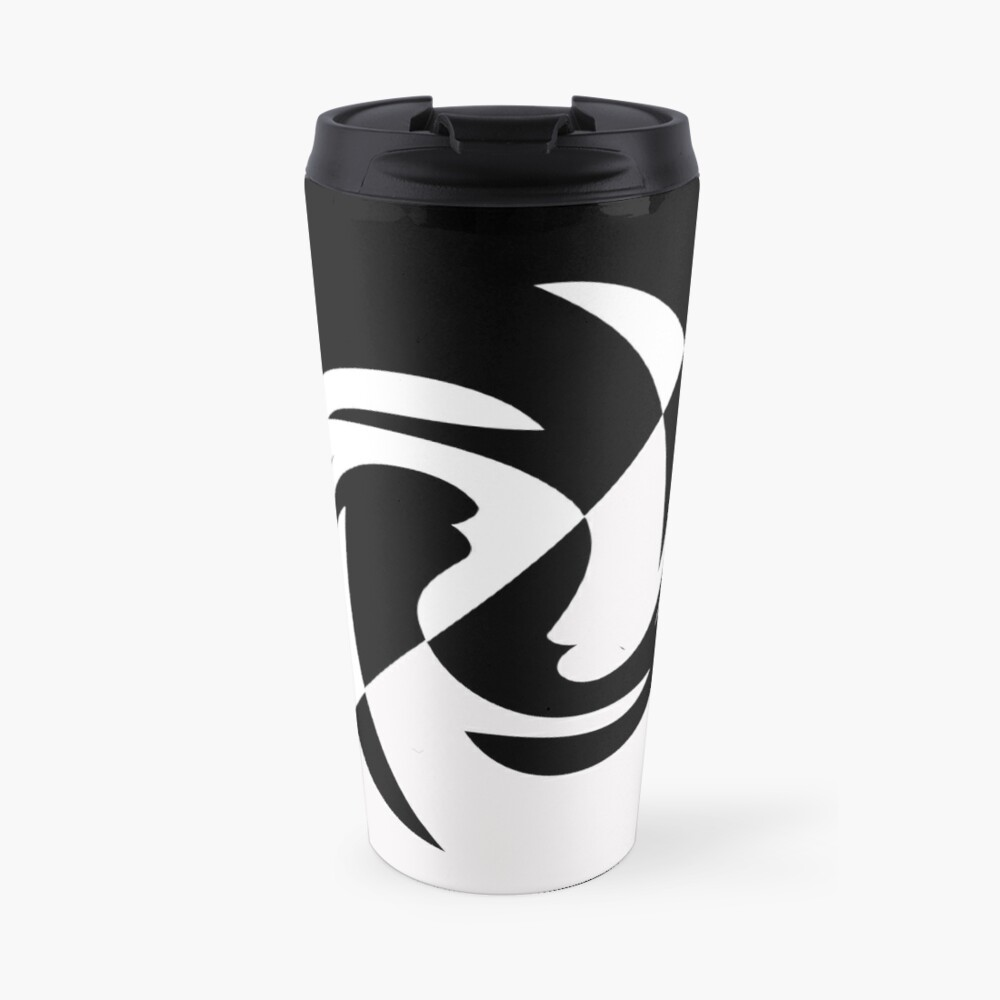Half and Half with Spin ( black and white) by Julie Everhart Travel Mug