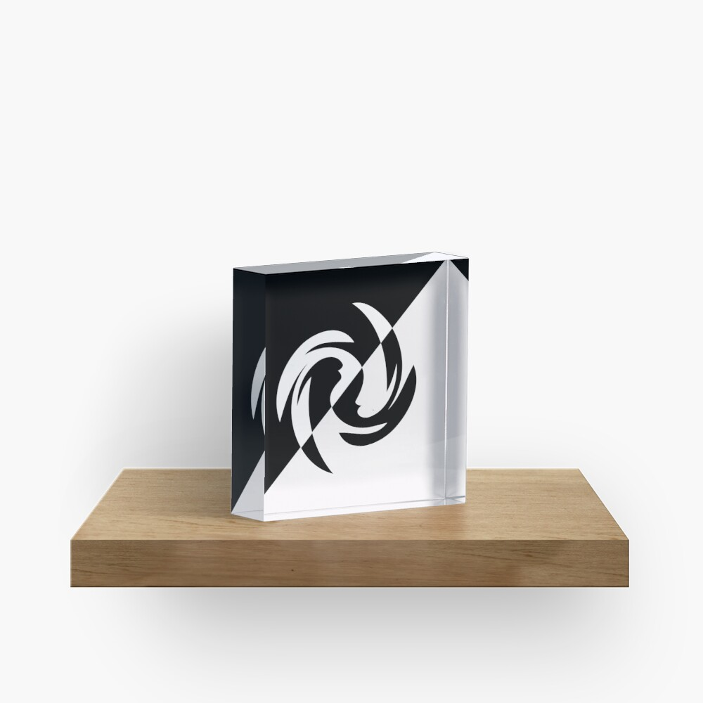 Half and Half with Spin ( black and white) by Julie Everhart Acrylic Block