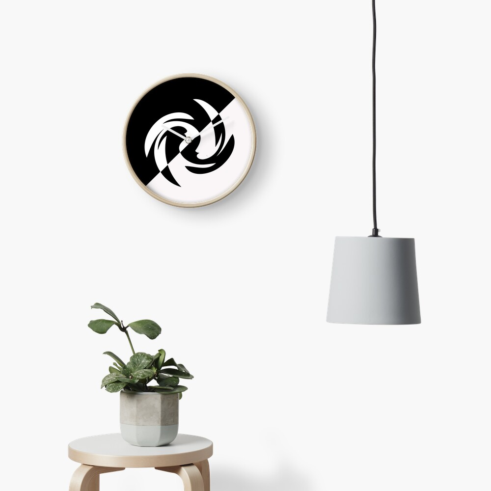 Half and Half with Spin ( black and white) by Julie Everhart Clock