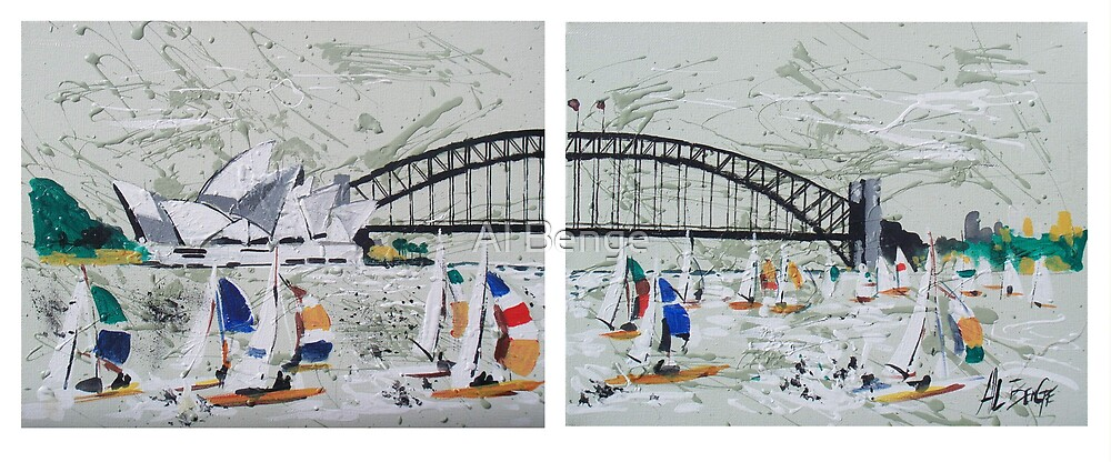 Two panel artwork depicting Sydney Harbour and bridge by Al Benge
