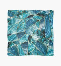 Turquoise Navy Blue Agate Black Gold Geometric Triangles Scarf