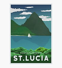 St. Lucia Travel Poster Photographic Print