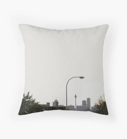 skyline & lamp post Throw Pillow