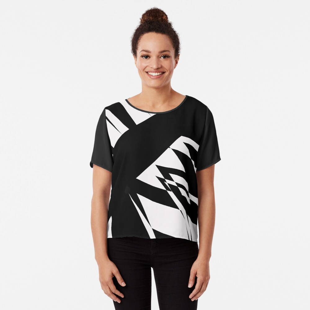 Black and White #8 by Julie Everhart Chiffon Top