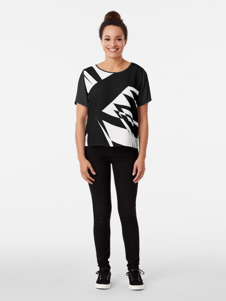 Alternate view of Black and White #8 by Julie Everhart Chiffon Top
