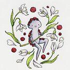 Garnet & Snowdrops -- card by Leigh Ann Gagnon