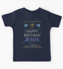 Hässliche Christmas Sweater - stricken von Oma - alles Gute zum Geburtstag Jesus - religiöse Christian - Purple Kinder T-Shirt