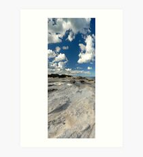 Panoramic slice of Australia with water pool and dramatic clouds Art Print