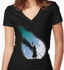 One winged angel Women's Fitted V-Neck T-Shirt