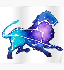 Leo Zodiac Constellation Watercolor Painting Poster
