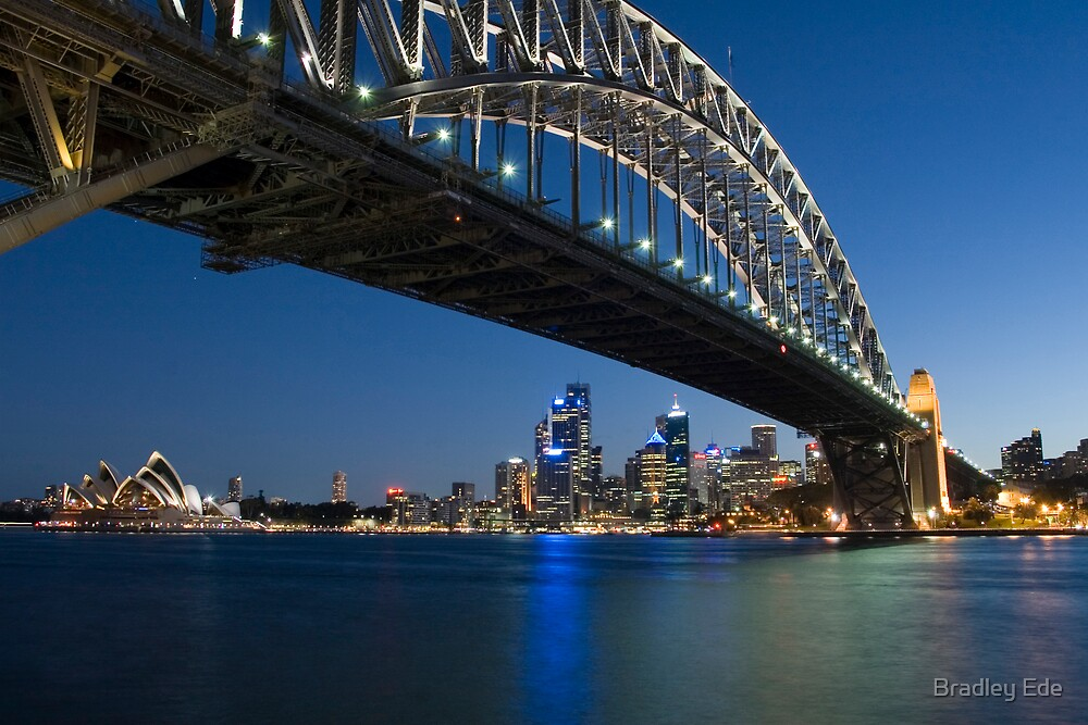 Sydney Harbour Bridge in Blue by Bradley Ede