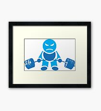 Cute Weightlifting Robot - BLUE Framed Print