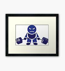 Cute Weightlifting Robot - DARK BLUE Framed Print