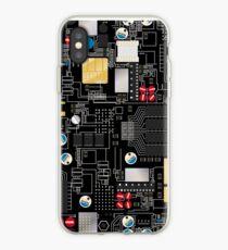 Black circuit board iPhone Case