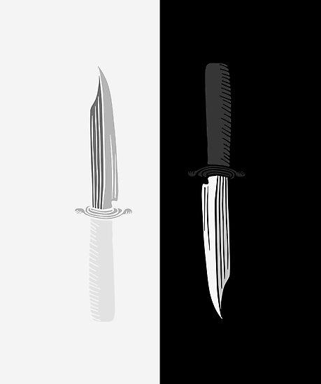 Double Dark + White Knives Illustration by Chaparralia