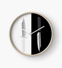 Double Dark + White Knives Illustration Clock