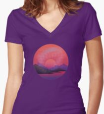 Distressed Sunset Women's Fitted V-Neck T-Shirt