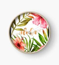 Hawaiian Tropical Floral Aloha Watercolor Clock
